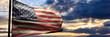 Leinwandbild Motiv USA flag, US of America sign symbol, sunset sky background. 3d illustration