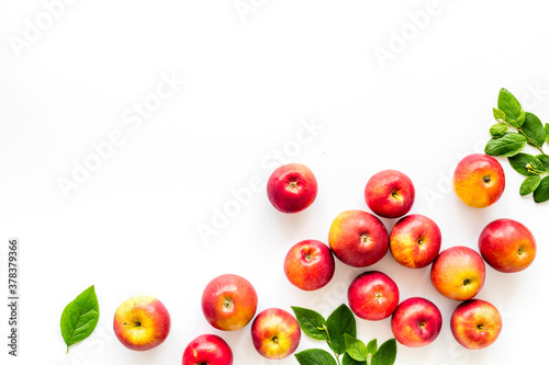 Fototapeta Layout of fresh red apples. Top view, copy space obraz