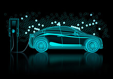 Computer Generated Cad Model Of Electric Car At Charging Station Made From Digital Lines And Mesh On Black Background. 3d Render.