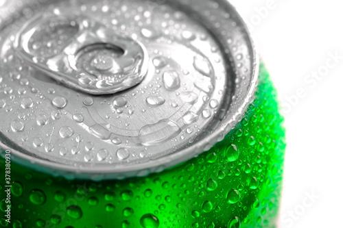 Fototapeta Fresh Can of Soda Pop Soft Drink Water Drops Chilled Refreshing obraz
