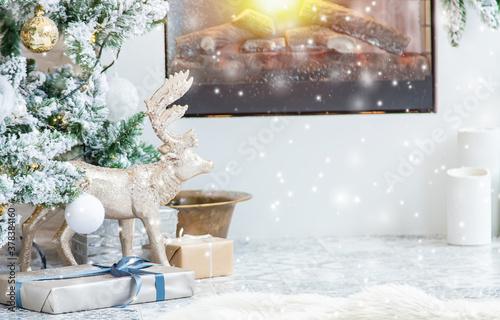 Fototapeta Merry Christmas, Holidays greeting card background. Selective focus. obraz