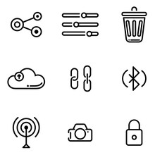 Simple Set Of Media And Communication Icon, Such As Bluetooth Icon, Upload, Hotspot And Camera.