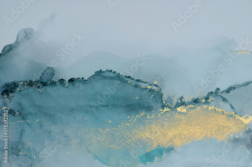 Fototapeta Art Abstract  watercolor flow blot painting. Color blue and gold marble texture background. Alcohol ink. obraz
