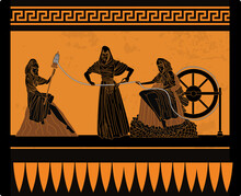 Orange And Black Greek Mythology Three Moirai