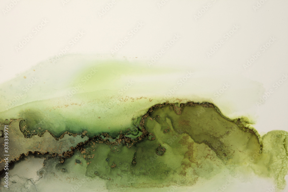 Fototapeta Art Abstract  watercolor flow blot painting. Color green and gold marble texture background. Alcohol ink.