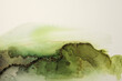 canvas print picture - Art Abstract  watercolor flow blot painting. Color green and gold marble texture background. Alcohol ink.