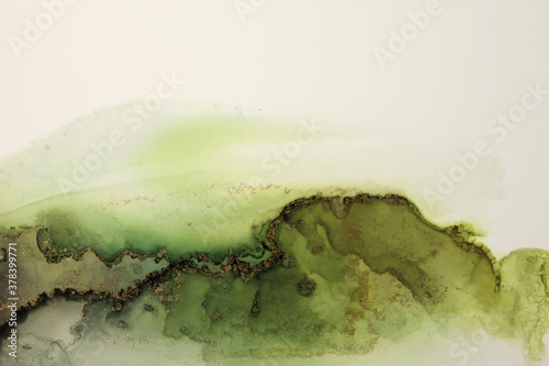 Art Abstract  watercolor flow blot painting. Color green and gold marble texture background. Alcohol ink. - 378399771