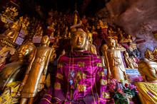 Myanmar, Shan State, Pindaya, Golden Buddha Statues Inside Pindaya Caves