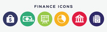 6 Circles Set With Finance Icon In Various Colors. Vector Illustration.