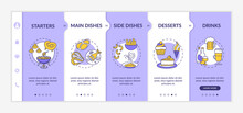 Restaurant Menu Onboarding Vector Template. Full Course Of Delicious Meals. Wide Choice Menu. Responsive Mobile Website With Icons. Webpage Walkthrough Step Screens. RGB Color Concept