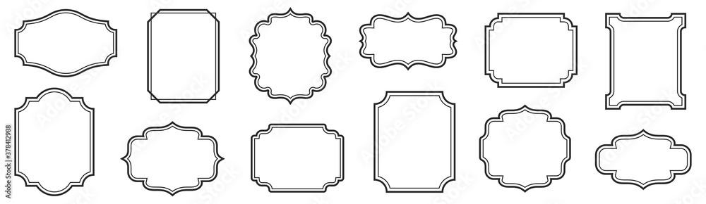 Fototapeta Vintage frames set isolated on white background. Decorative frame. Vector