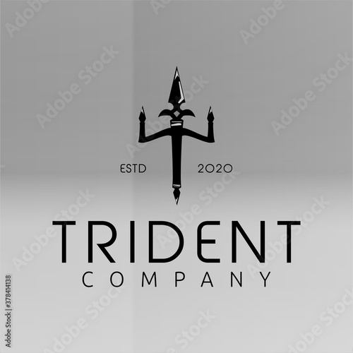 Valokuva Vintage Trident Spear of Poseidon Neptune God Triton King logo design