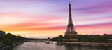 Fototapeta Fototapety z wieżą Eiffla - Sunset over the the Eiffel Tower and the Seine River in Paris, France.