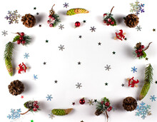 Christmas Decoration Background With Fir Cones And Branches, Balls And Snowflakes. Christmas Theme Wallpaper In Flat Lay From Above. Christmas Flatlay. Copyspace
