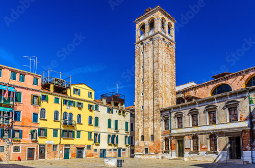 Chiesa San Silvestro catholic church building with bell tower campanile on Campo Wallpaper Mural