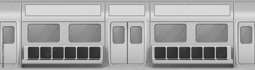 Fototapeta Train wagon interior with seats, windows and closed doors. Vector realistic background with glass windows, sliding doors, handrails and chairs in metro carriage. Empty subway wagon inside