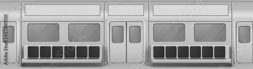 Fotografie, Obraz Train wagon interior with seats, windows and closed doors