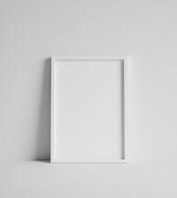 Mock Up Poster With White Frame Close Up Near Wall, 3d Render