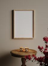 Mockup Frame In Vintage Interior Background Close Up, 3d Render