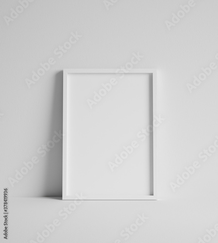 Fototapeta Mock up poster with white frame close up near wall, 3d render obraz