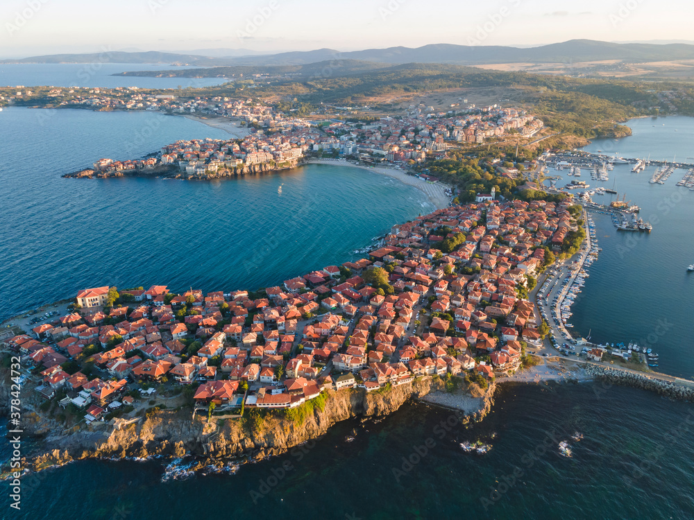 Fototapeta Aerial sunset view of old town of Sozopol, Bulgaria