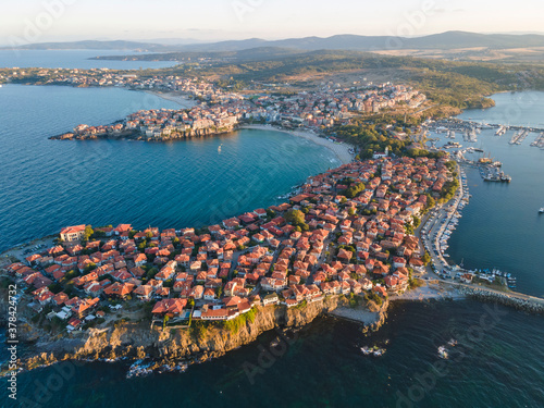 Obraz na plátně Aerial sunset view of old town of Sozopol, Bulgaria