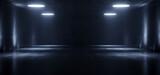 Fototapeta Perspektywa 3d - Big Large Neon Laser Blue Dark Night Warehouse Tunnel Corridor Concrete Garage Grunge Sci Fi Futuristic Underground Showcase Car Parking Empty 3D Rendering