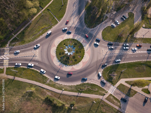 Highway intersection junction summer morning with car Canvas