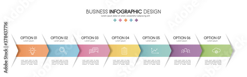 Diagram with 7 steps. Colourful infograph. Vector Fototapet
