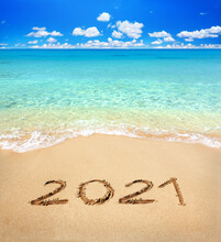2021 Written On Sandy Beach