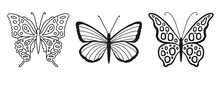 Set Of Silhouettes Of Butterflies Isolated On White Background In Vector Format.Separate Objects For Logo, Design, Illustration For Easy And Graceful Design. Freedom. Insect With Beautiful Wings