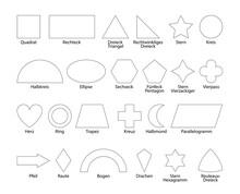 Geometrische Formen Sammlung In Weiß Mit Text In Deutsch, Vektor Illustration Isoliert Auf Weißem Hintergrund