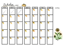October Calendar Years 2020 With Orange Pumpkin And Threes Sunflowers