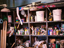 Shelves In An Artists Studio P...