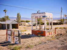 An Abandoned Gas Station For Miners Sits In The Nevada Sun.