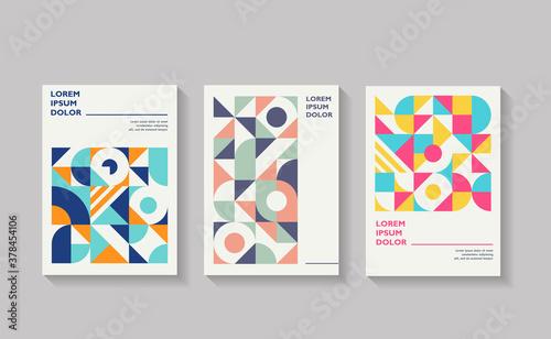 Billede på lærred Retro covers for annual report brochure Vintage shape compositions in bauhause s