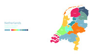 Netherlands Map. Colorful Detailed Vector Map Of The Europe Country.