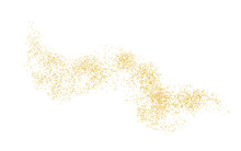Horizontal Wavy Strip Sprinkled With Crumbs Golden Texture. Background Gold Dust On A White Background. Sand Particles Grain Or Sand. Vector Backdrop Golden Path Pieces Grunge For Design Illustration