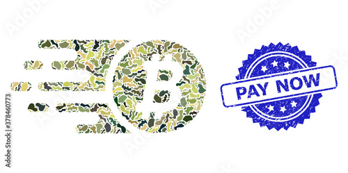 Obraz na plátne Textured Pay Now Stamp and Military Camouflage Composition of Bitcoin Coin