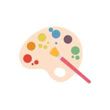 Isolated Paint Palette Icon With A Paintbrush - Vector Illustration