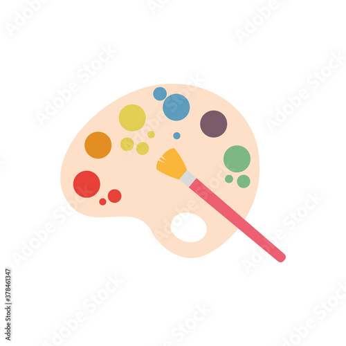 Fototapeta Isolated paint palette icon with a paintbrush - Vector illustration