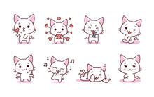 Isolated Set Kitty Loving Emoji Cute Sticker Icon- Vector