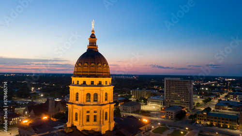 Valokuvatapetti Aerial View at Sunset over the State Capital Building in Topeka Kansas USA