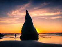 Tourist At Oregon Beach Walks ...