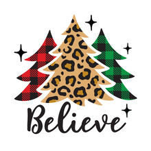 Vector Illustration Of Christmas Trees With Leopard Print And Buffalo Plaid Patterns.