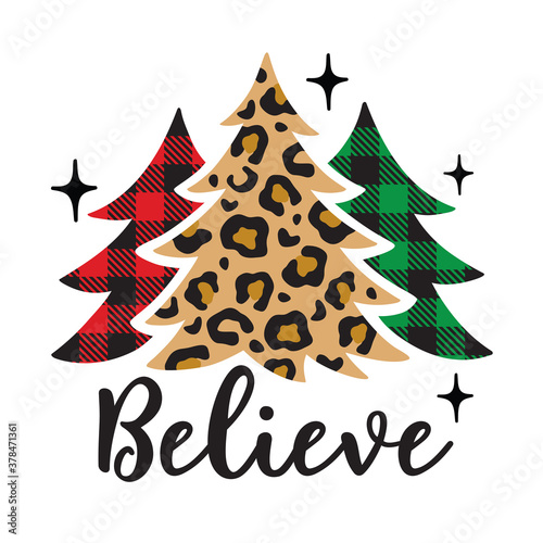 Vector illustration of Christmas trees with leopard print and buffalo plaid patterns. #378471361