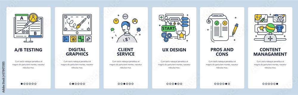 Fototapeta Design thinking process. Digital graphics ab testing customer service. Mobile app screens vector website banner template