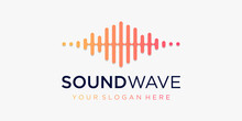 Symbol Sound Wave With Pulse. Music Player Element. Logo Template Electronic Music, Equalizer, Store, DJ Music, Nightclub, Disco. Audio Wave Logo Concept, Multimedia Technology Themed, Abstract Shape.