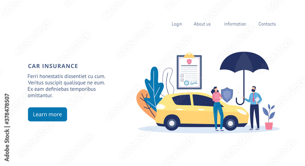 Fototapeta Web page for car and transport insurance agency flat vector illustration.