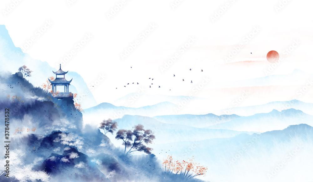 Fototapeta Blue ink landscape painting, oriental color ink painting.Asian culture.